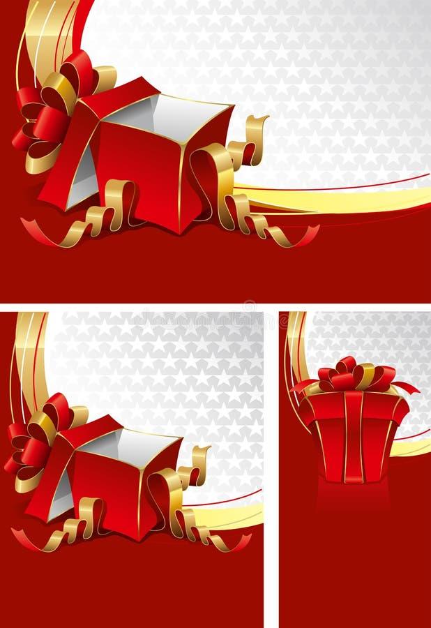 Conjunto de fondos con los rectángulos de regalo stock de ilustración