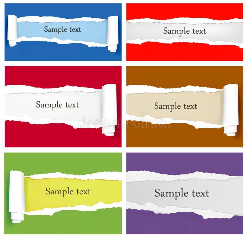 Conjunto de fondos de papel coloridos rasgados. stock de ilustración