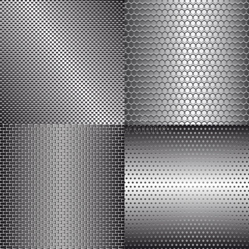Conjunto de fondos del metal ilustración del vector