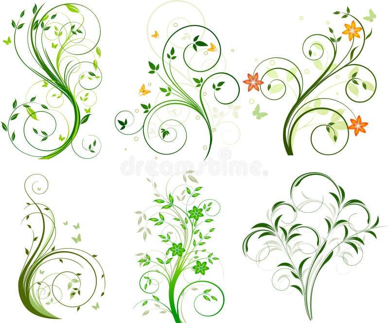 Conjunto de fondos florales stock de ilustración