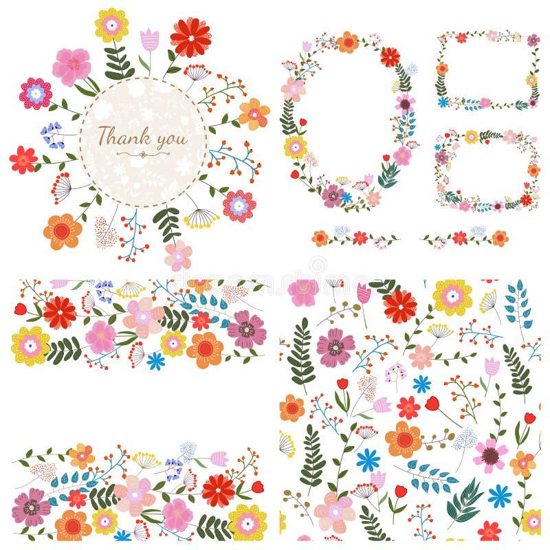 Conjunto de fondos florales Flores de la primavera y del verano Vector stock de ilustración