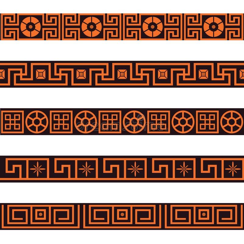 Conjunto de fronteras inconsútiles stock de ilustración