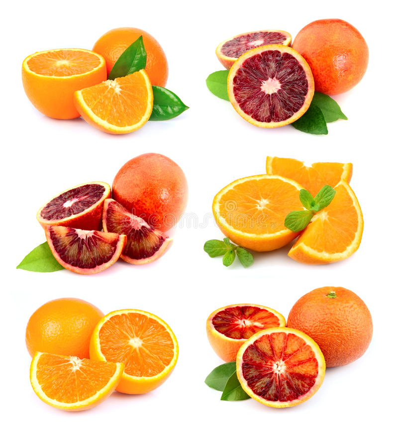 Conjunto de fruta de la naranja dulce imagenes de archivo