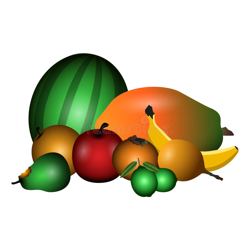 Conjunto de frutas stock de ilustración