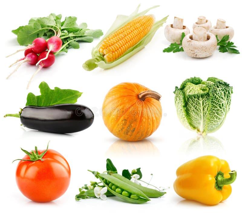 Conjunto de frutas vegetales aisladas en blanco foto de archivo