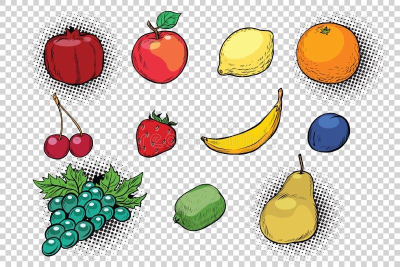 Conjunto de frutas y de bayas stock de ilustración