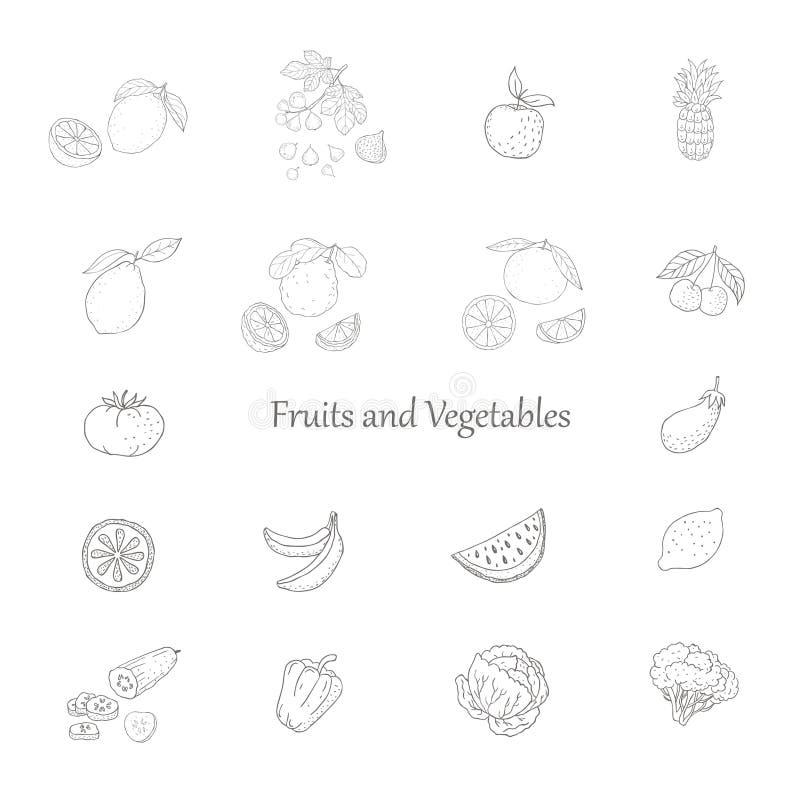 Conjunto de frutas y verdura Gr?fico de vector fotos de archivo libres de regalías