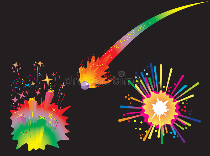 Conjunto de fuegos artificiales del día de fiesta ilustración del vector
