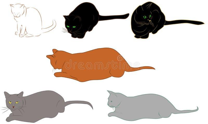 Conjunto de gatos libre illustration