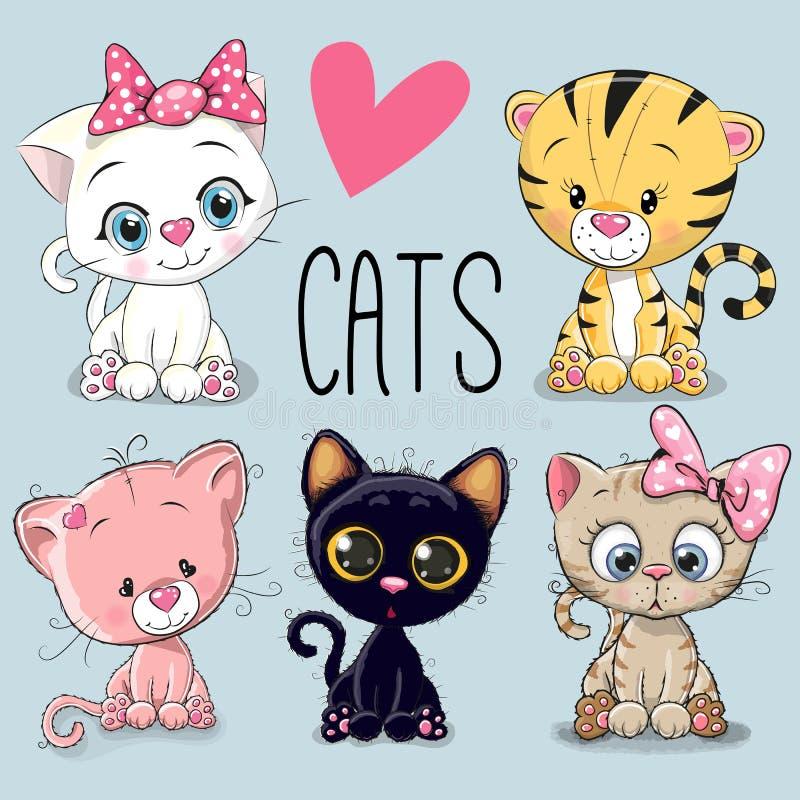 Conjunto de gatos lindos stock de ilustración