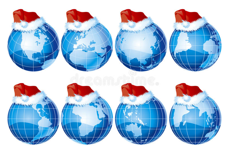 Conjunto de globos con la decoración de la Navidad stock de ilustración