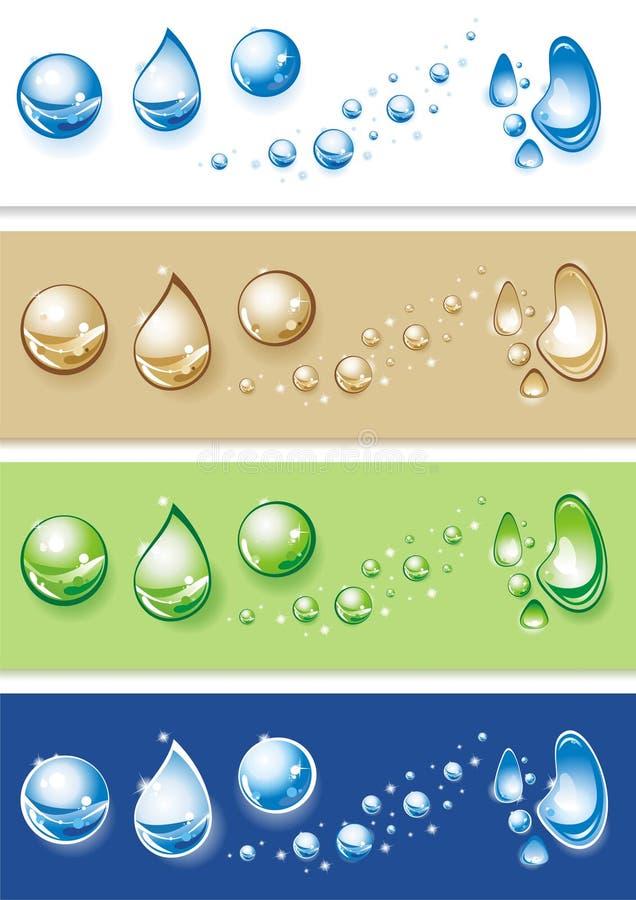 Conjunto de gotas claras del agua. stock de ilustración