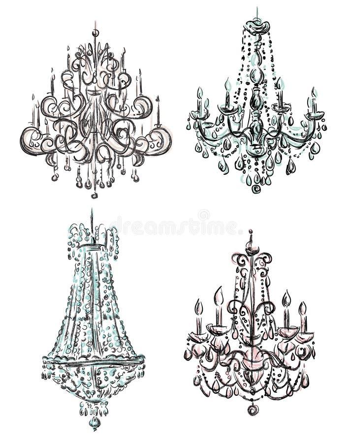 Conjunto de gráficos de la lámpara ilustración del vector