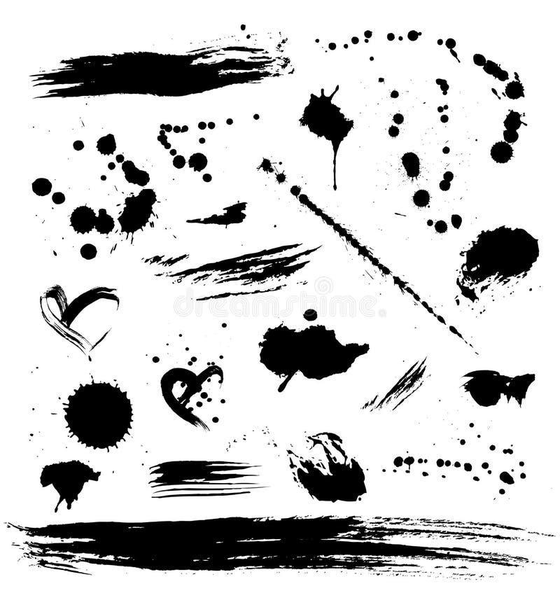 Conjunto de Grunge de manchas de óxido de la pintura stock de ilustración