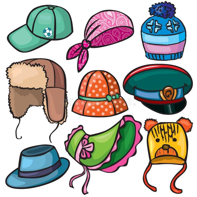 Conjunto de Headwear de iconos stock de ilustración