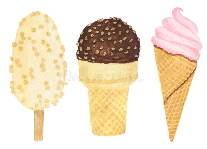 Conjunto de helado tres Ilustración de la acuarela libre illustration