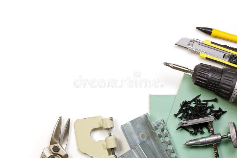 Conjunto de herramientas de la mampostería seca fotos de archivo