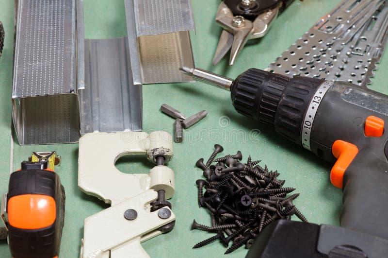 Conjunto de herramientas de la mampostería seca imagen de archivo
