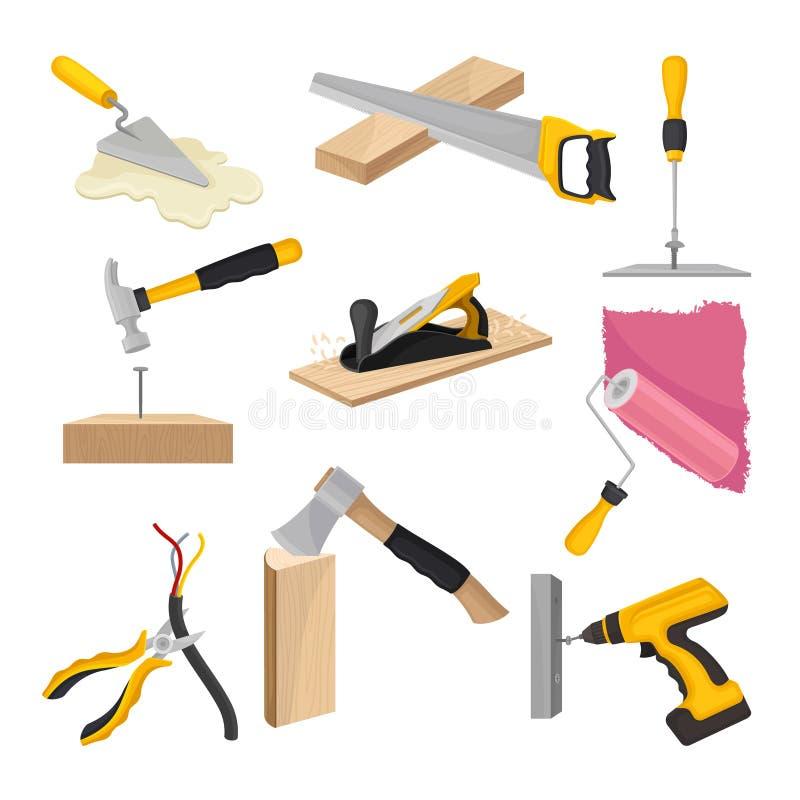 Conjunto de herramientas de la construcci?n Ilustraci?n del vector en el fondo blanco ilustración del vector