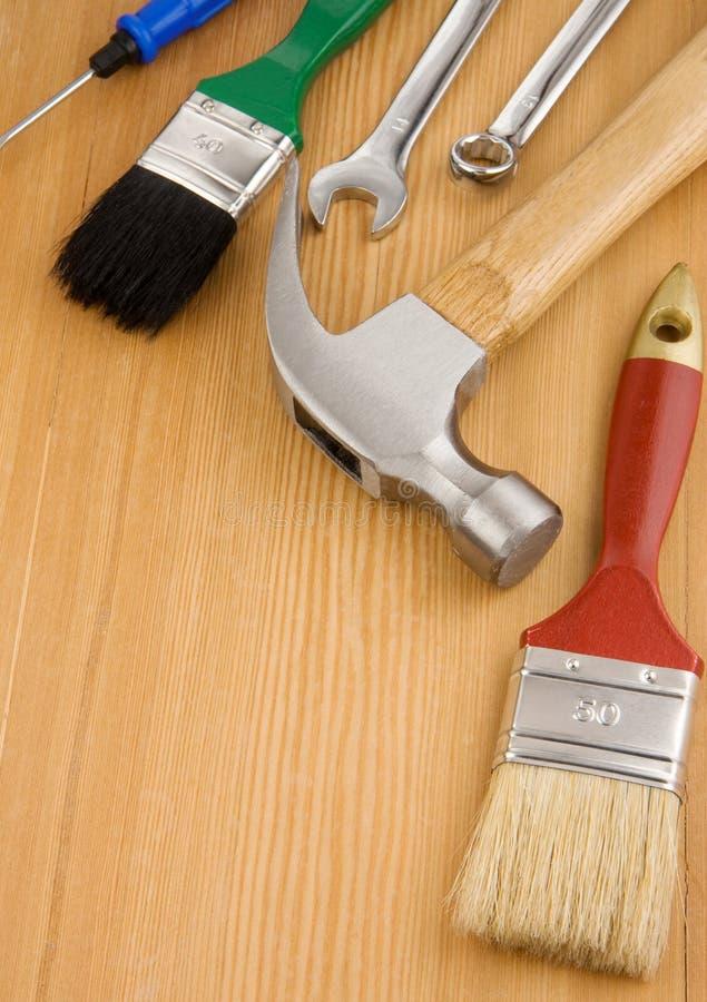Conjunto de herramientas y de instrumentos foto de archivo