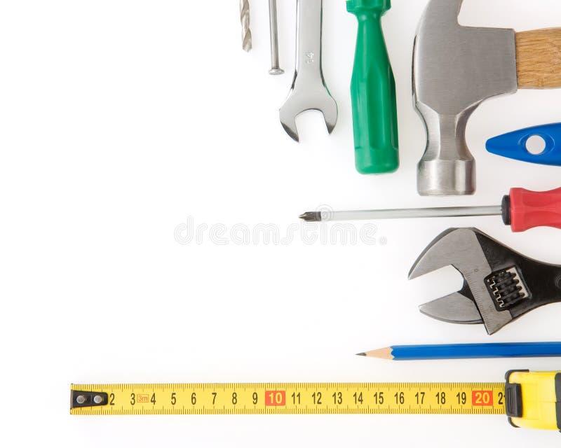 Conjunto de herramientas y de instrumentos en blanco imágenes de archivo libres de regalías