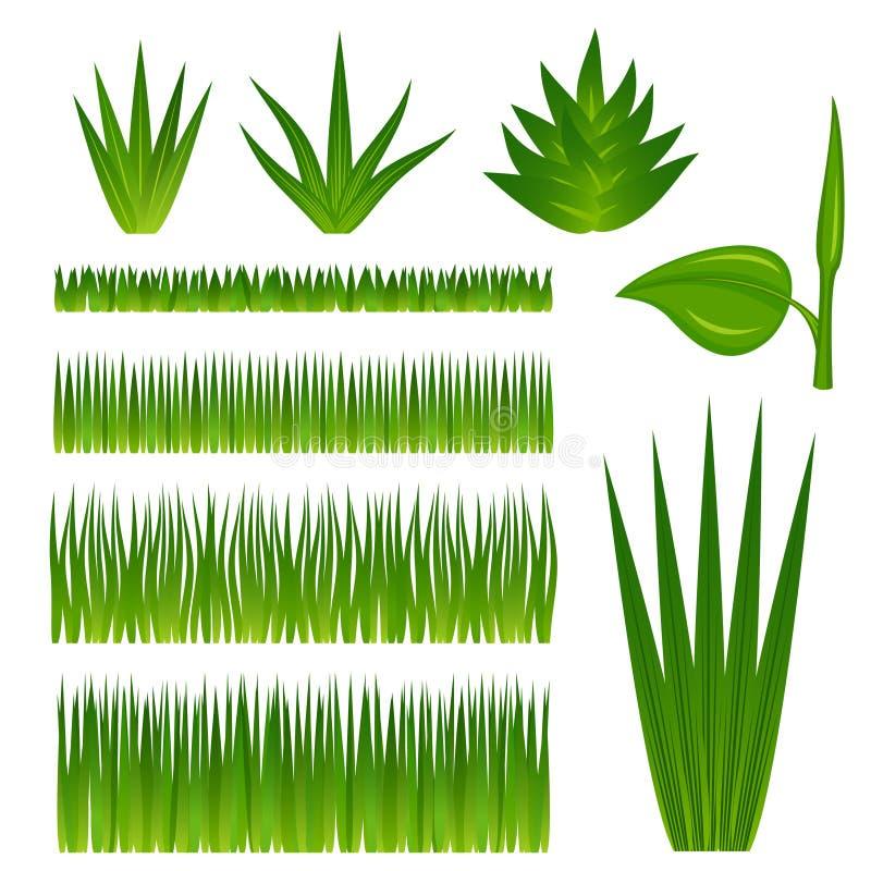 Conjunto de hierba y de plantas stock de ilustración