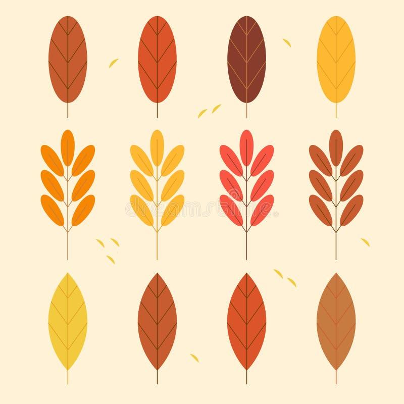 Conjunto de hojas de oto?o 2019 colores de moda libre illustration