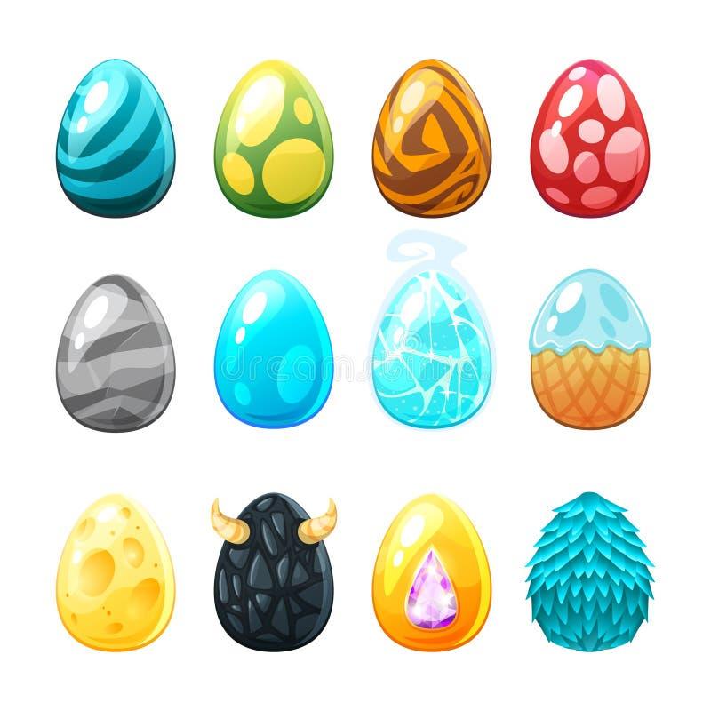 Conjunto de huevos coloridos stock de ilustración