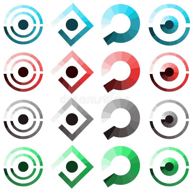 Conjunto de iconos abstractos tal insignia stock de ilustración