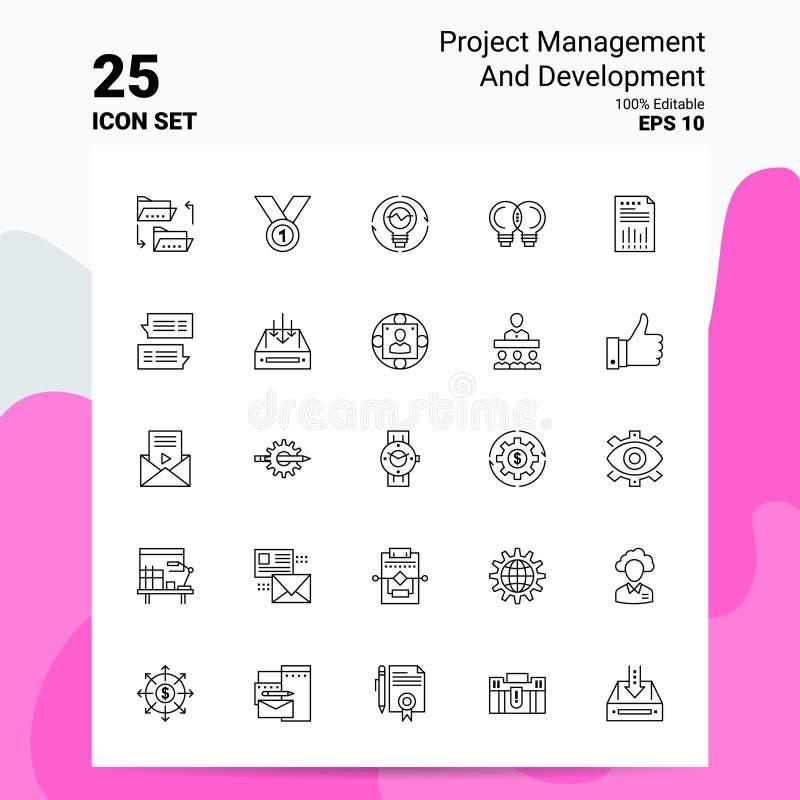 25 Conjunto de iconos de administración y desarrollo de proyectos 100% archivos EPS 10 editables Diseño del concepto del logotipo ilustración del vector
