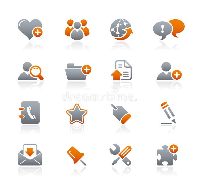 Conjunto de iconos anaranjados y grises ilustración del vector