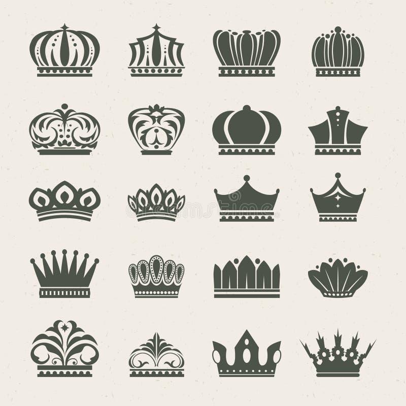 Conjunto de iconos de la corona ilustración del vector