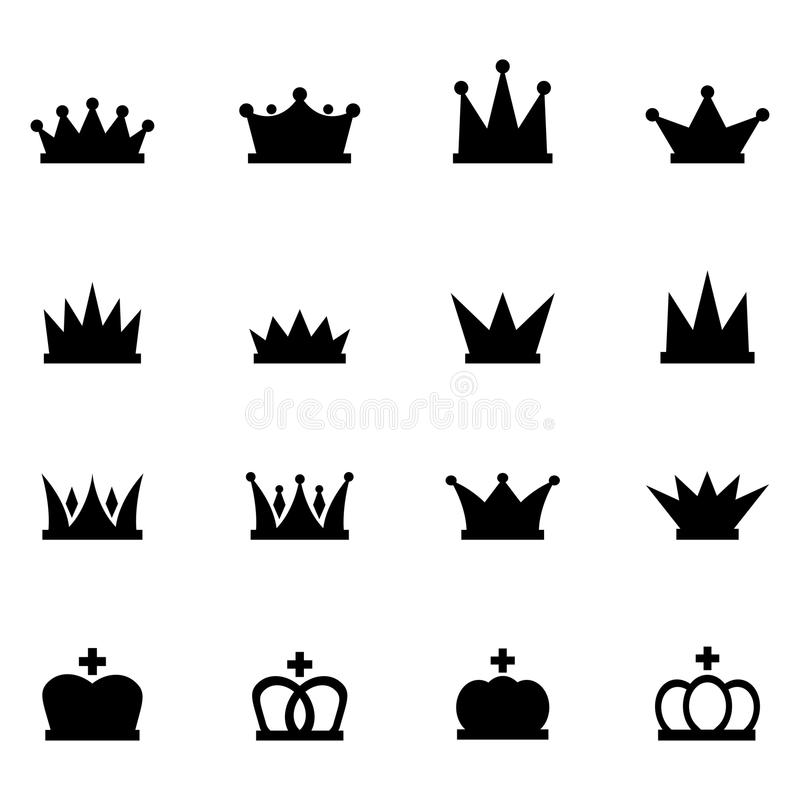 Conjunto de iconos de la corona stock de ilustración