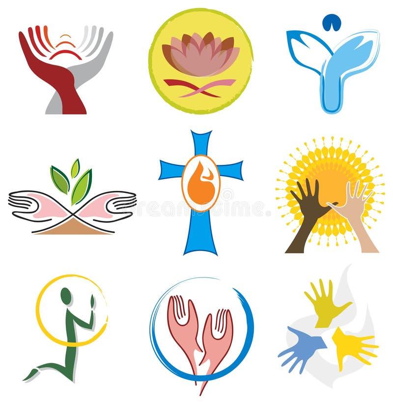 Conjunto de iconos de la espiritualidad/de la religión ilustración del vector