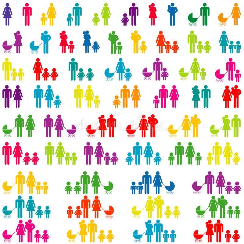 Conjunto de iconos de la familia libre illustration