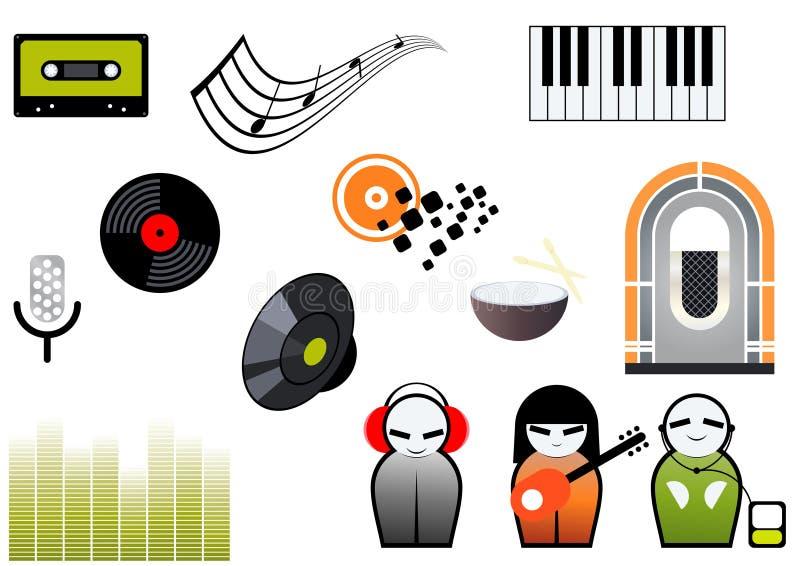 Conjunto de iconos de la música o del sonido ilustración del vector