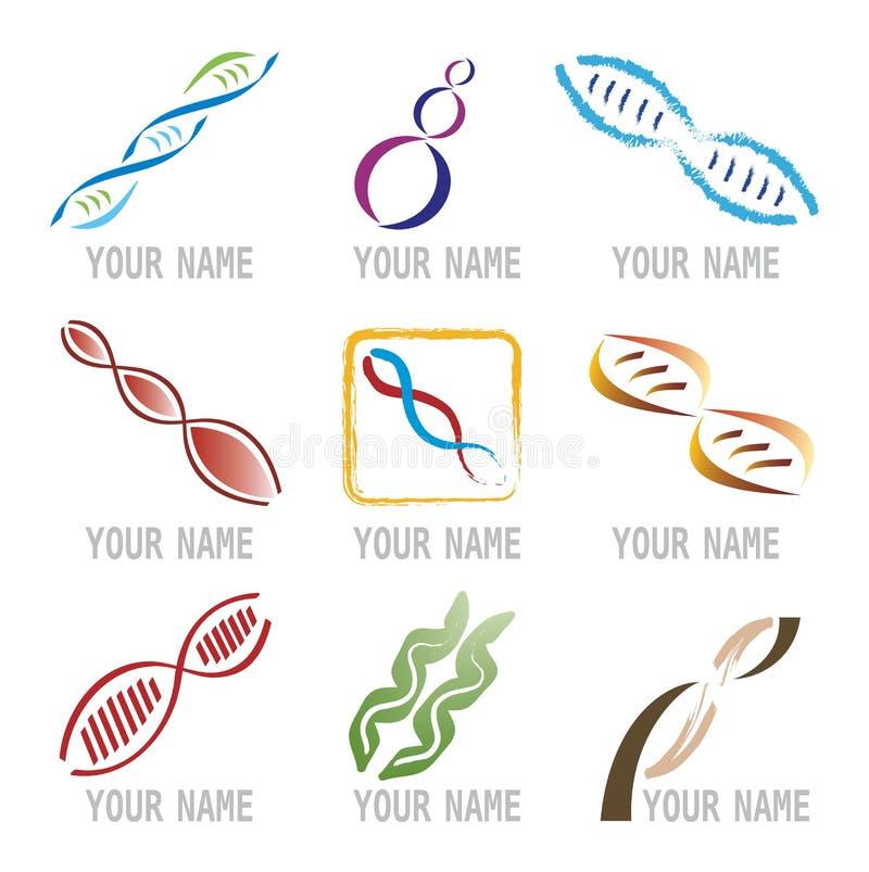 Conjunto de iconos de la molécula de la DNA ilustración del vector