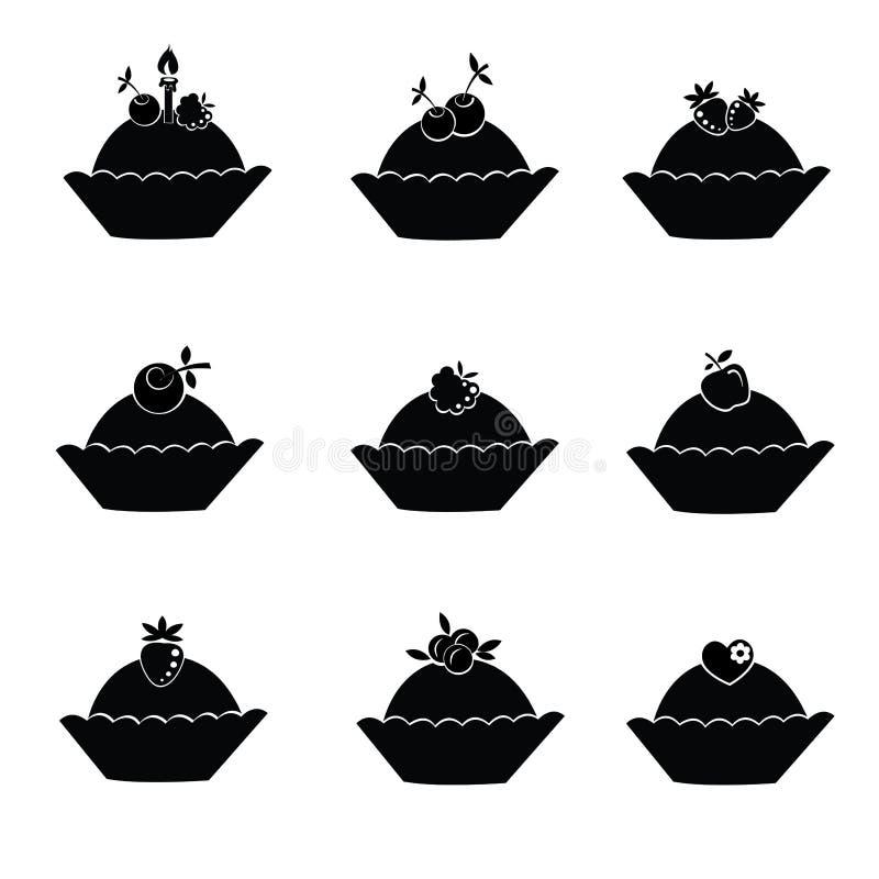 Conjunto de iconos de la torta. stock de ilustración