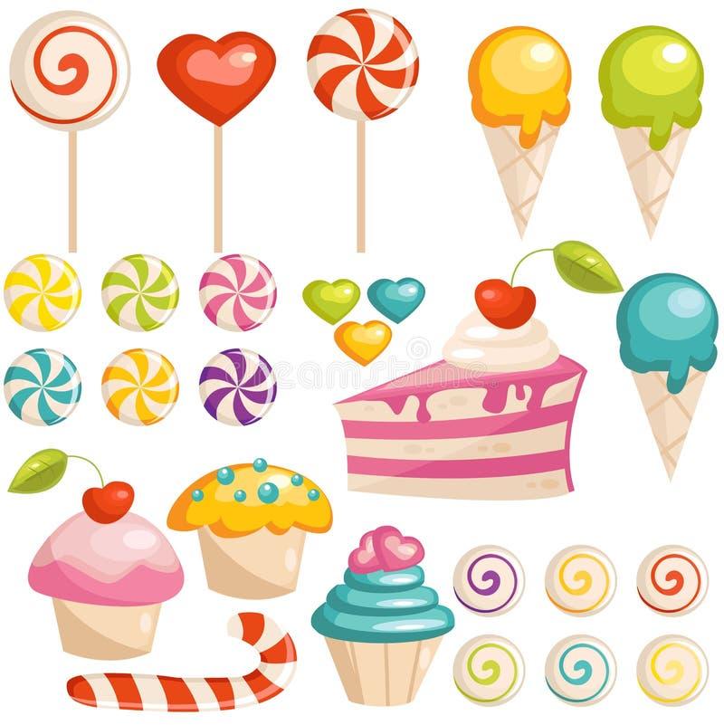 Conjunto de iconos de los dulces stock de ilustración