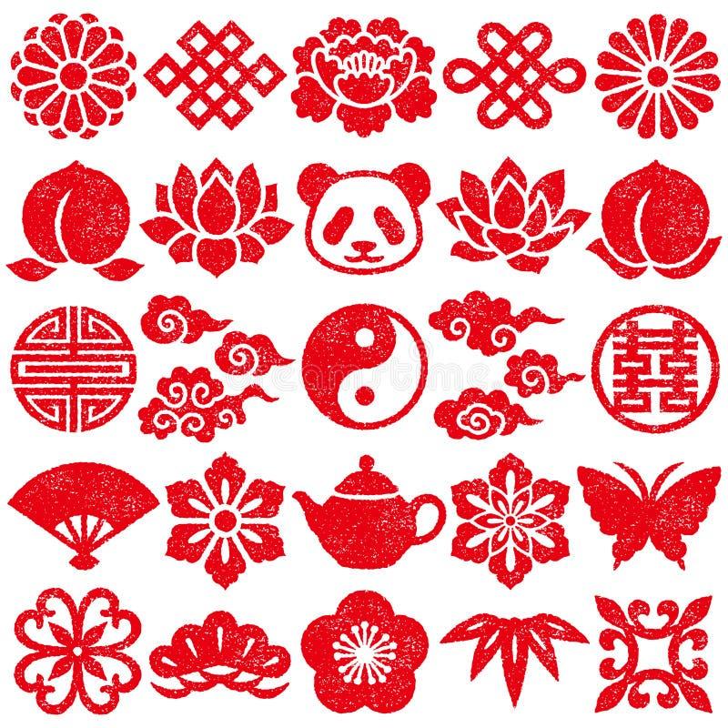 Conjunto de iconos decorativos chinos Conjunto del sello stock de ilustración