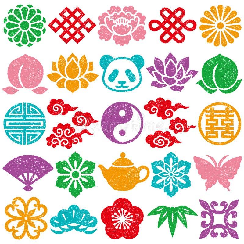 Conjunto de iconos decorativos chinos Conjunto del sello ilustración del vector