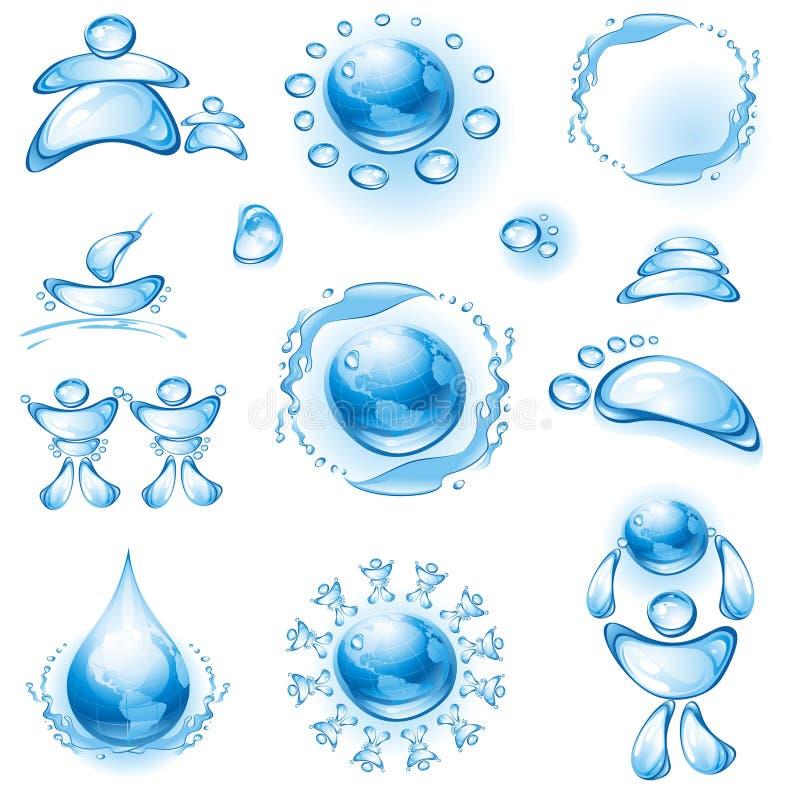 Conjunto de iconos del agua. stock de ilustración