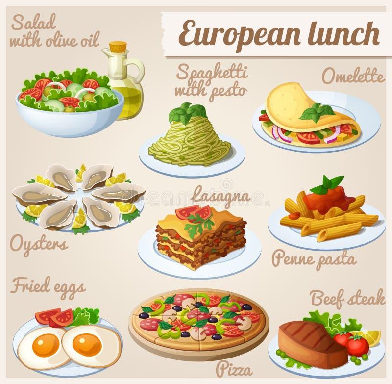 Conjunto de iconos del alimento Almuerzo europeo libre illustration