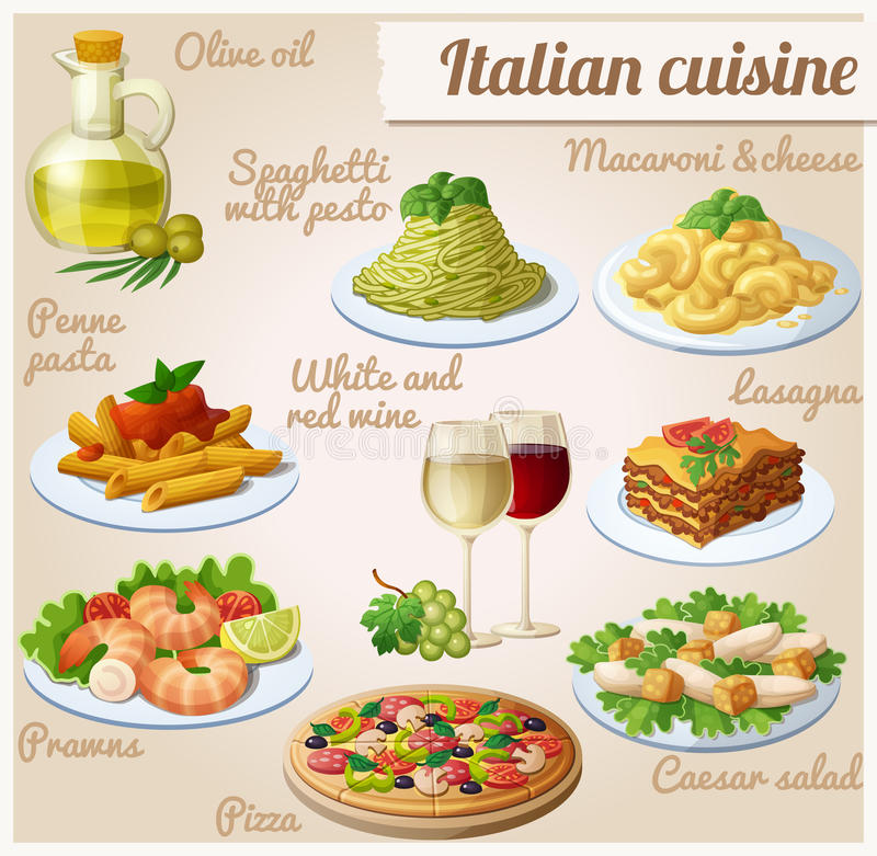 Conjunto de iconos del alimento Cocina italiana Espaguetis con el pesto, lasaña, salsa de tomate de las pastas del penne, pizza,  libre illustration