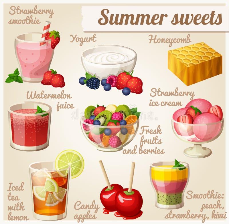 Conjunto de iconos del alimento Dulces de verano libre illustration