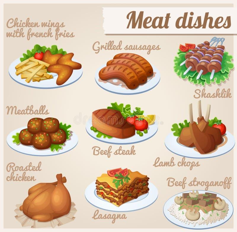 Conjunto de iconos del alimento Platos de la carne stock de ilustración