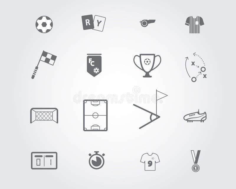 Conjunto de iconos del fútbol stock de ilustración