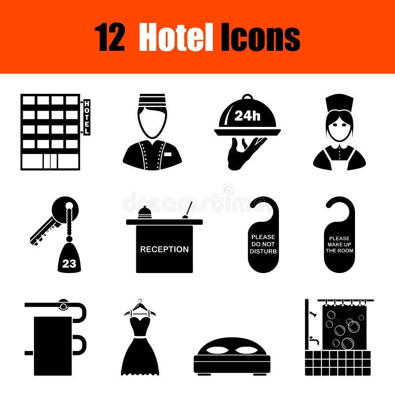 Conjunto de iconos del hotel ilustración del vector