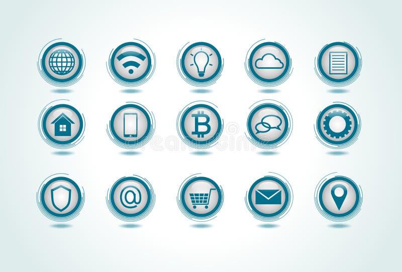 Conjunto de iconos del Internet ilustración del vector