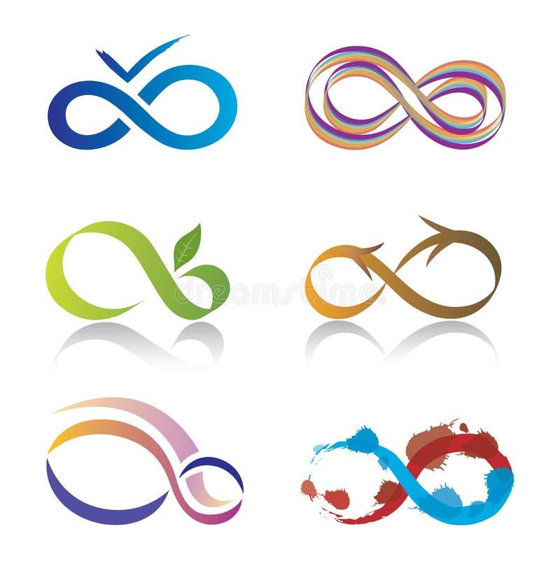 Conjunto de iconos del símbolo del infinito ilustración del vector